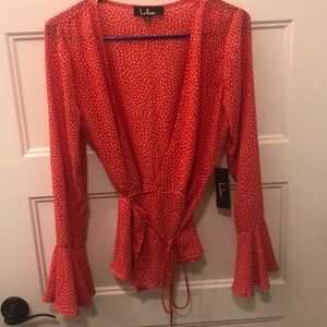 Orange Lulu's M Wrap Top